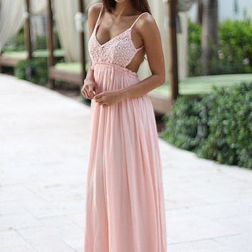 Pink Lace Maxi Dress With Open Back and Frayed Hem