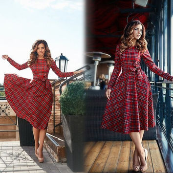 2016 New Autumn Red Plaid Long Sleeve Mini Dress Women O-neck Bow Casual Dresses Vestidos
