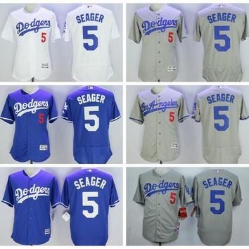 MLB Flexbase 5 Corey Seager Jersey Cool Base Los Angeles Dodgers Baseball Jerseys Home Road Away White Blue Grey All Stitched Best Quality