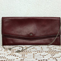 Slim Clutch, Envelope Purse, Clutch Wallet With Chain Strap, Maroon, Shoulder Bag, Oxblood Messenger, 80s Satchel, Foldover Evening Handbag