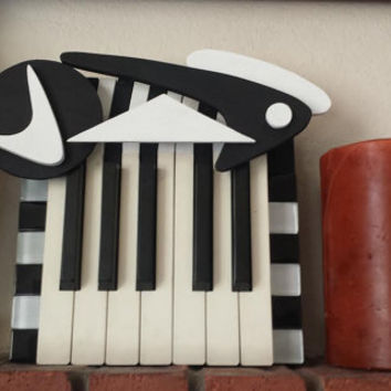 Key Hanger made from Piano Keys on Recycled Wood and parts from recycled Piano in Googie Art Style
