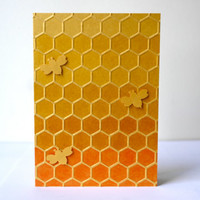 Honey Comb Ombre Card - Original Handmade Unique Sweet Special Fun Valentine Greeting Card