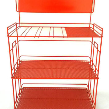 Shelf Vintage Storage Rack Countertop Bathroom Wire Metal Kitchen Stand Towels Dishes Toys Books Display Mid Century Shelves Orange Rust Red
