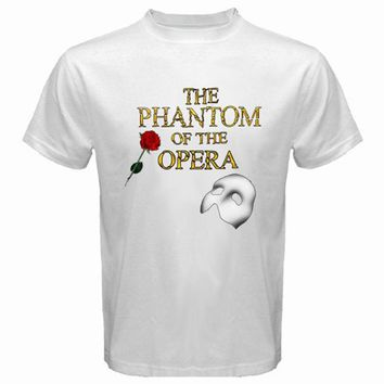THE PHANTOM OF THE OPERA Mask Broadway Musical Men's White T-Shirt Size S-3XL Fashion Design Free Shipping Tricolor top tee