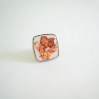 Metallic bronze copper flakes white statement ring. Unique minimal big chunky abstract modern adjustable glass dome handmade OOAK jewelry