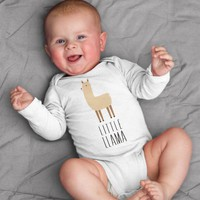 Little Llama Baby Bodysuit Romper for Baby Boy or Baby Girl Long or Short Sleeve 3, 6, 9, 12 Months