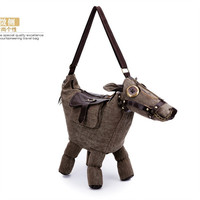 Canvas horse shape bag messenger bag special unique handbag party bag
