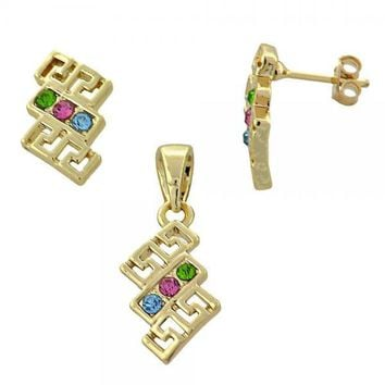 Gold Layered Earring and Pendant Adult Set, Greek Key Design, with Crystal, Gold Tone