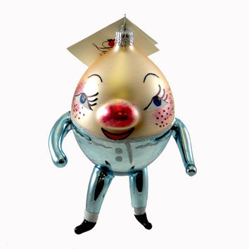 Laved Italian Ornaments Humpty Dumpty Blue Glass Ornament
