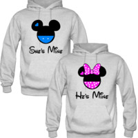 she is mine he is mine mickey & minnie Couple Hoodies
