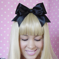 Alice In Wonderland bow hair clip black big bow halloween costume Ribbon Romantic Boutique Princess Fairy Tale Sweet - For Women Teens Girls