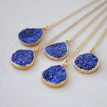 Mystic Purple Druzy Necklace, Gold Druzy Necklace, Purple Druzy Jewelry