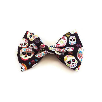 Sugar Skull Bow • Dia De Los Muertos •Halloween Hair Bow • Skull Hair Bow • Costume • Day Of the Dead • Christmas Gift • Hair Accessories