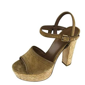 Gucci Women's Brown Suede/Cork Platform Sandals 309974 (38 G/8 US)