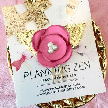 Fuchsia Chiffon Poppy with Gold Glitter Leaves Flower Planner Clip