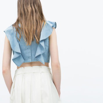 Chambray top with frills