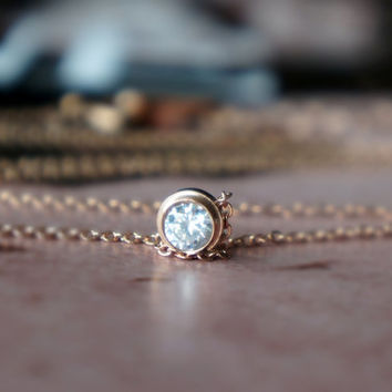 Crystal necklace -  rose gold titanium