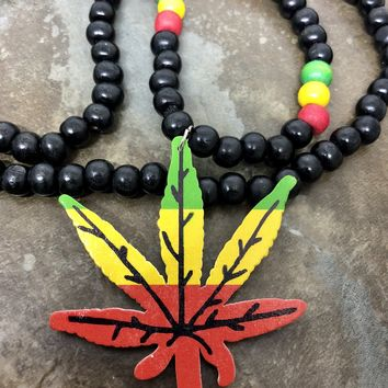 "Pot leaf, Rasta, necklace 18"" long"