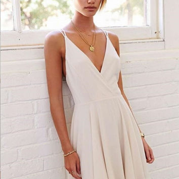 White Chiffon Homecoming Dress, Simple Homecoming Dress