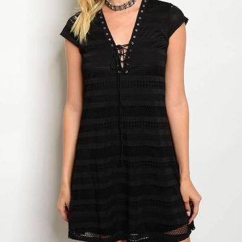 Ladies fashion v-neck lace up front cap sleeve skater dress