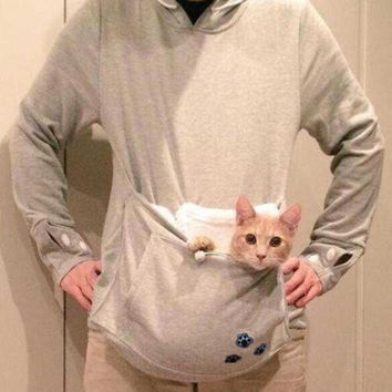Japanese Kangaroo Big Pocket Grey Cat Dog Pet Casual Hoodie Sweatshirts Hoodie With Ears Neko Atsume Clothes Big Size 3XL