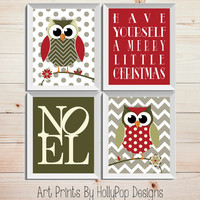 Christmas Decor Home Decor Wall Art Set of 4 Red Green Prints Christmas Owls Noel Typography print merry little Christmas Modern Holiday