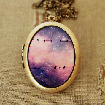 Lullaby - Birds On A Wire Against A Colorful Starry Purple Sky - Grande Photo Locket Necklace
