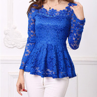Plus Size 4XL blusa feminina 2016 Spring Women Long Sleeve Lace Shirts Blouses Embroidery Floral Lace Crochet Tops Lace Blusas