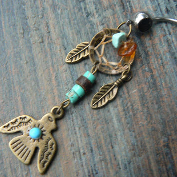 thunderbird dreamcatcher tribal belly ring turquoise amber in belly dancer native american inspired gypsy hippie boho and hipster style