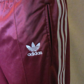 Vintage Amazing 80s ADIDAS TREFOIL ATP Maroon Striped Men Women Work Out Rare Warm Up Sweatpants