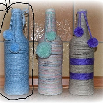 baby blue yarn wrapped bottle, flower vase, repurposed upcycled home decor