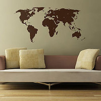 world map wall sticker and destination markers by the binary box   notonthehighstreet.com