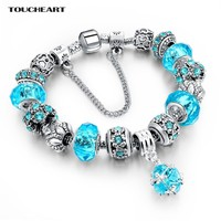 TOUCHEART Blue Crystal Beads Charm Bracelets & Bangles Vintage Bracelets For Women silver color DIY Jewelry SBR160037