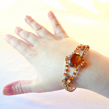 Golden Amber Rhinestone Bracelet, 50s Jointed Tennis Prong Set Style, Central Large Stones