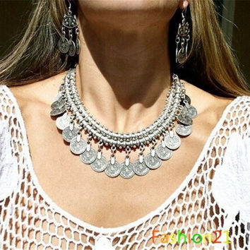 Gypsy Bohemian Beachy Chic Coin Fringe Statement Necklace Boho Festival Silver Ethnic Turkish = 1928509572