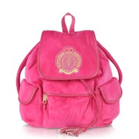 Juicy Couture Designer Handbags Iconic Crest Velour Backpack