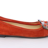 FENDI NEW BRONZE BUCKLE ORANGE SUEDE POINTED TOE FLATS SIZE 9 1/2 US 40 EUR
