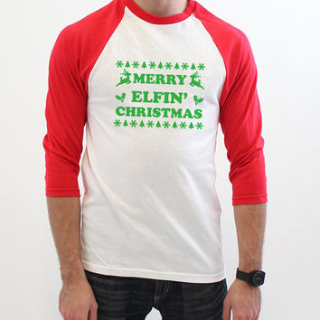 Merry Elfin Christmas - Funny Griswold Christmas Holiday Raglan Elf Tee Shirt - XMas 3/4 Baseball Tshirt T Shirt - S-2XL 520