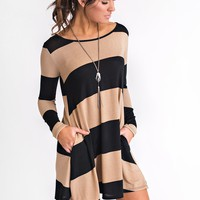 Maxine Striped Dress (Taupe)
