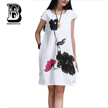 High Quality Cotton Linen Loose Casual Dress New 2017 Fashion Vintage Print Short Sleeve Women Summer Dresses Plus Size H226