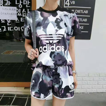 """""""Adidas"""" Fashion Casual Clover Letter Multicolor Print Short Sleeve Set Two-Piece Sportswear"""