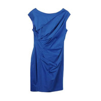 Lela Rose Asymmetric Draped Cotton Rayon Sleeveless V-Back Dress Cobalt Blue 8