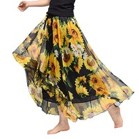 Womens Chiffon Long Skirt Floral Printing Maxi Skirt with Lining Elastic Waist Beach Skirt