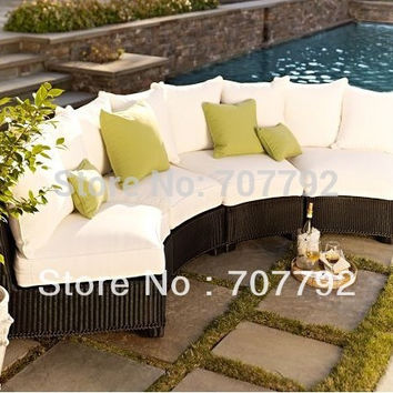 All-Weather Black Wicker Rounded Sectional Components