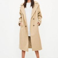 Missguided - Camel Double Breasted Faux Wool Coat
