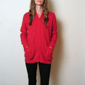 tomato red WOOL cable knit long cardigan sweater, m