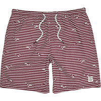 River Island MensDark red stripe mid length swim trunks