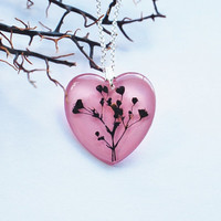 Pressed Flower Necklace 03 Pink Heart Resin Jewelry Real Flower Pendant Love Romantic 925 Silver Plated
