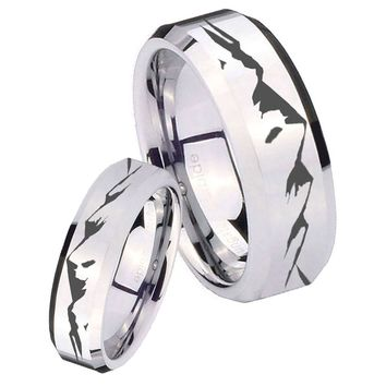 His Her Mirror Beveled Mountain Silver Tungsten Wedding Rings Set