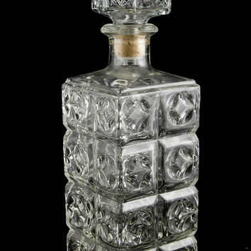 Vintage Faceted Glass Liquor Decanter Square Bar Decanter